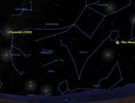 Карта ночного неба с указанием радианта метеорного потока Персеиды